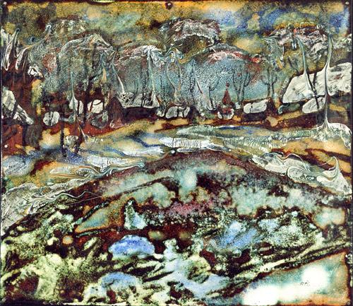 А.С.Александров. Зимой. 2001 г. Медь, эмаль. 30х35 см.
