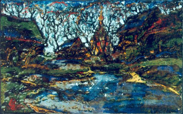 А.С.Александров. У пруда. 2000 г. 35х60. Медь, эмаль