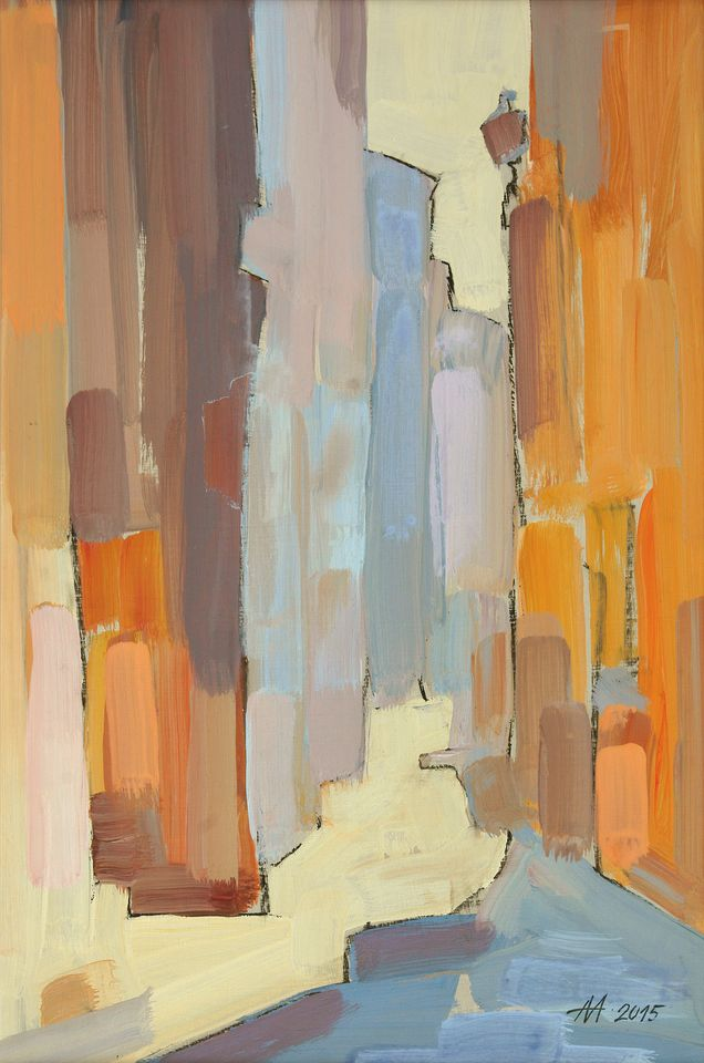 А.С.Александров. Переулок. 2015 г. Оргалит, акрил. 61х42 см.