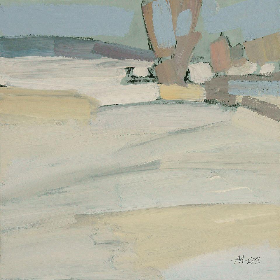 А.С.Александров. Зимний мотив. 2015 г. Бумага на оргалите, акрил. 49х49 см.