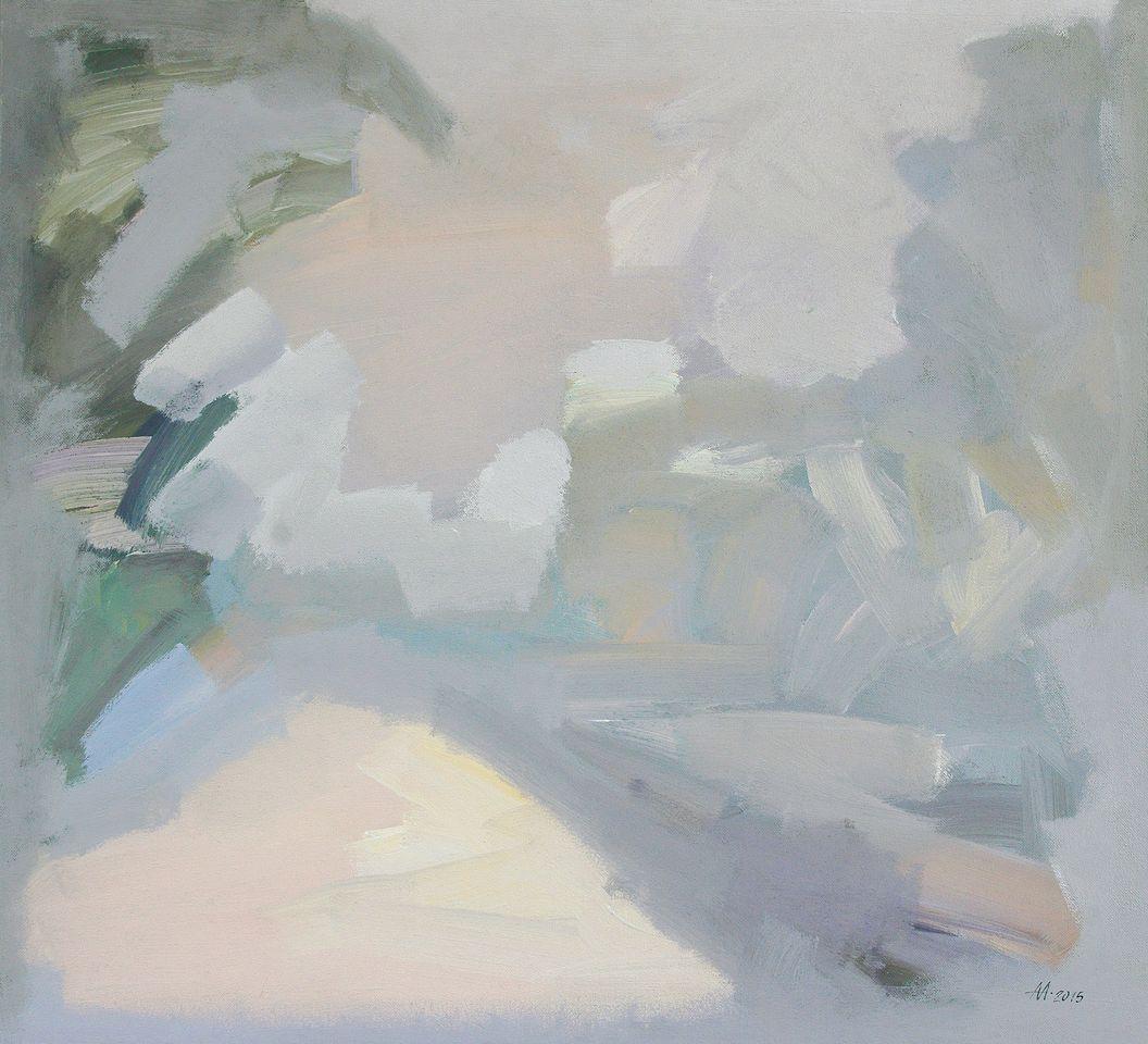 А.С.Александров. Зимний вечер. 2015 г. Оргалит, акрил. 110х120 см.