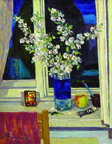 Ю.Д.Жарков. Ветка вишни на ночном окне. 2007. 90х70. Х.м. Цена - 70 000 руб.
