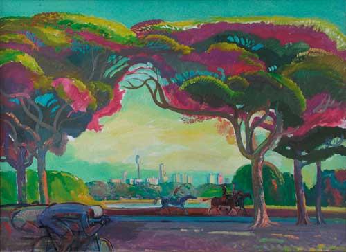 А.А.Карих. Утро в парке Столетия. Сидней. 1994. 84х120 см. Х.м.