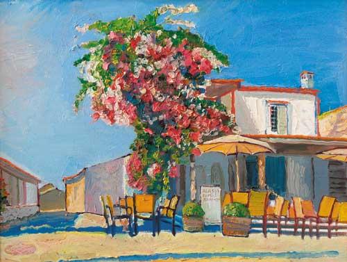 А.А.Карих. Кипр, Ларнака. Кафе. 2005. 45х60см. Х.м.