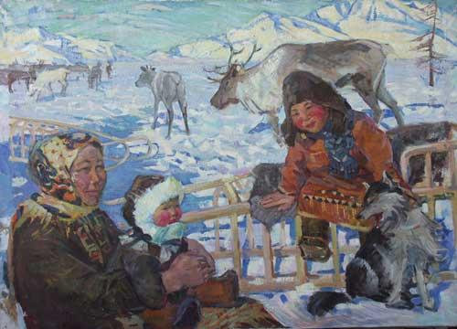 Н.Кулёва. На Камчатском солнышке. 1961. Х.,м..