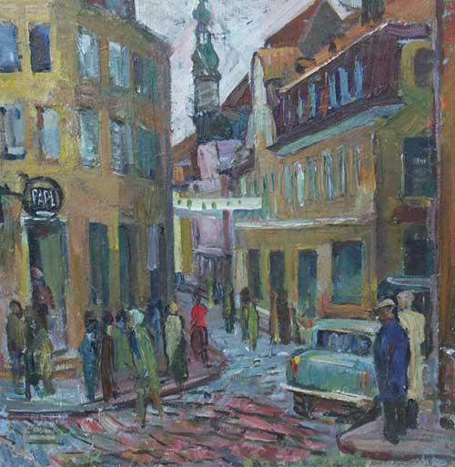 Н.Кулёва. Старая улица Таллина. 1964. К., м..