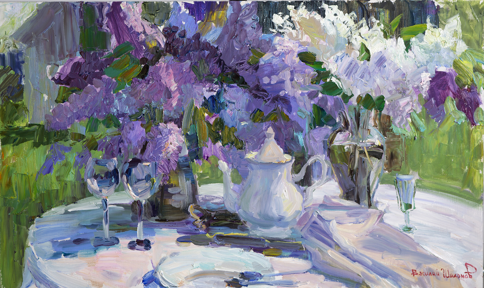В.А.Шиханов. Дачный натюрморт с сиренью. Х.м. 60х100.2016 г.