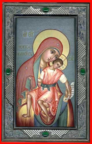 Е.В.Смирнова. Елеуса Киккская Богородица. 2007. 14,5х22,5 см. Серебро, скань, живопись по эмали.