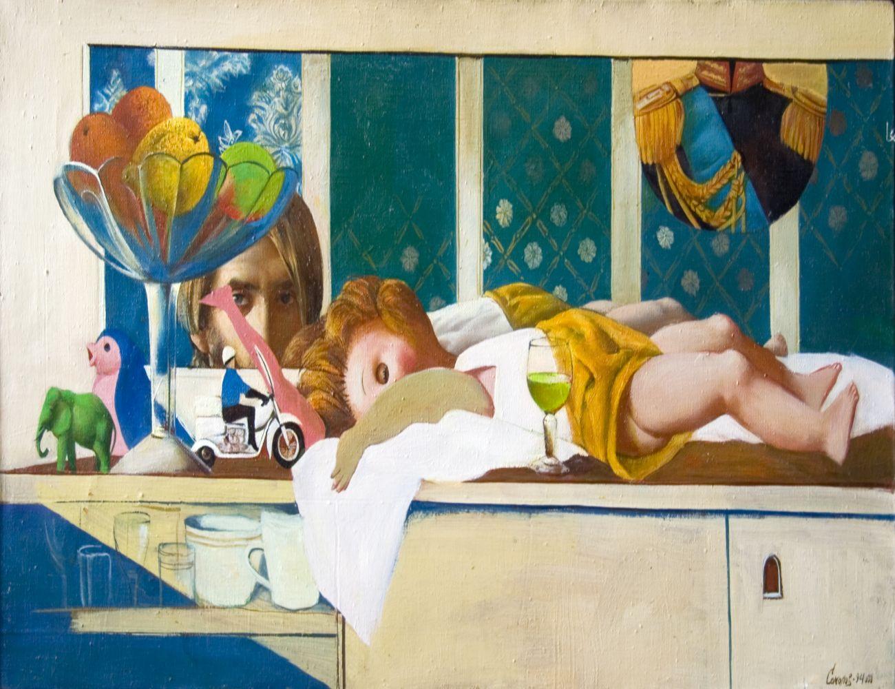 С.Н.Соколов. Спящая кукла. Х.м., 60х108. 1994. Цена 150 000 руб.