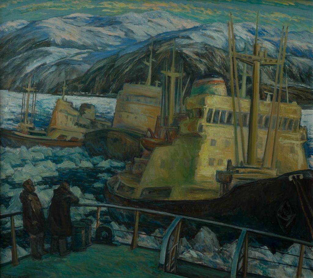 В.М.Зарослов. Арктика. Навигация завершается. 2013 г. Холст, масло. 110х125 см.