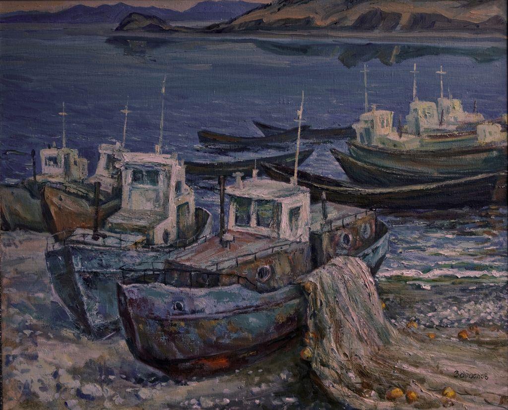 В.М.Зарослов. Труженики Байкала. 2008 г. Холст, масло. 56х71 см.