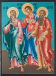 Е.А.Карих. Свв. апостолы Андрей, Филипп, Иуда. 2006. 132х100. ДВП, темпера.