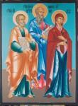 Е.А.Карих. Свв.ап. Пётр, Иоанн Предтеча, Богородица. 2006. 132х100. ДВП, темпера.