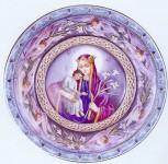 """Л.Д.Самонова. Образ Богоматери """"Неувядаемый цвет"""". 2003 г. Финифть, серебро, скань."""