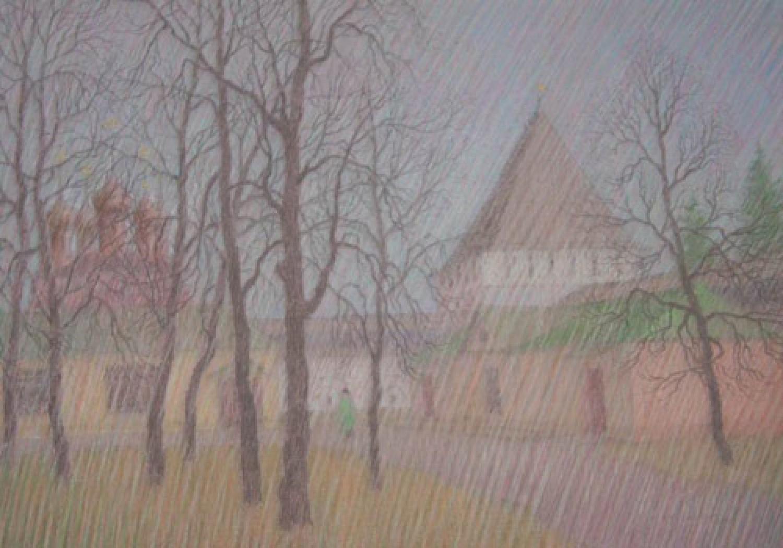 """В.В.Багдасарьян. Сторожевая башня Богородицкая. Из серии """"Спасский монастырь Ярославля"""". 2005. 40,5х58. Б.,пастель."""