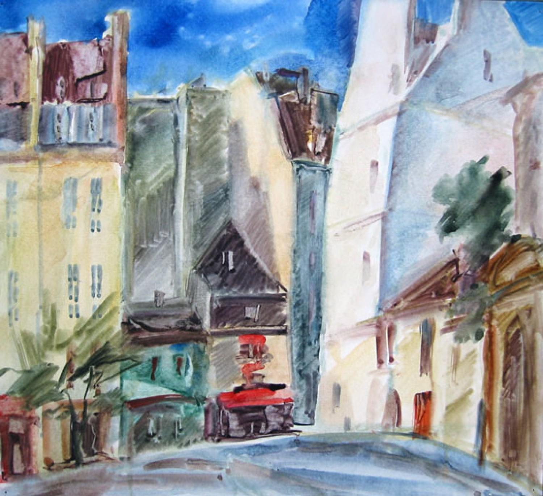А.С.Александров. Улица Бедного Жюльена (Rue Saint-Julien-le-Pauvre). 2006 г. Бумага, акварель. 32х35 см