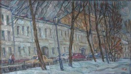 И.Д. Коробейников. Зимний бульвар. 2007. 50х70 Холст, масло.