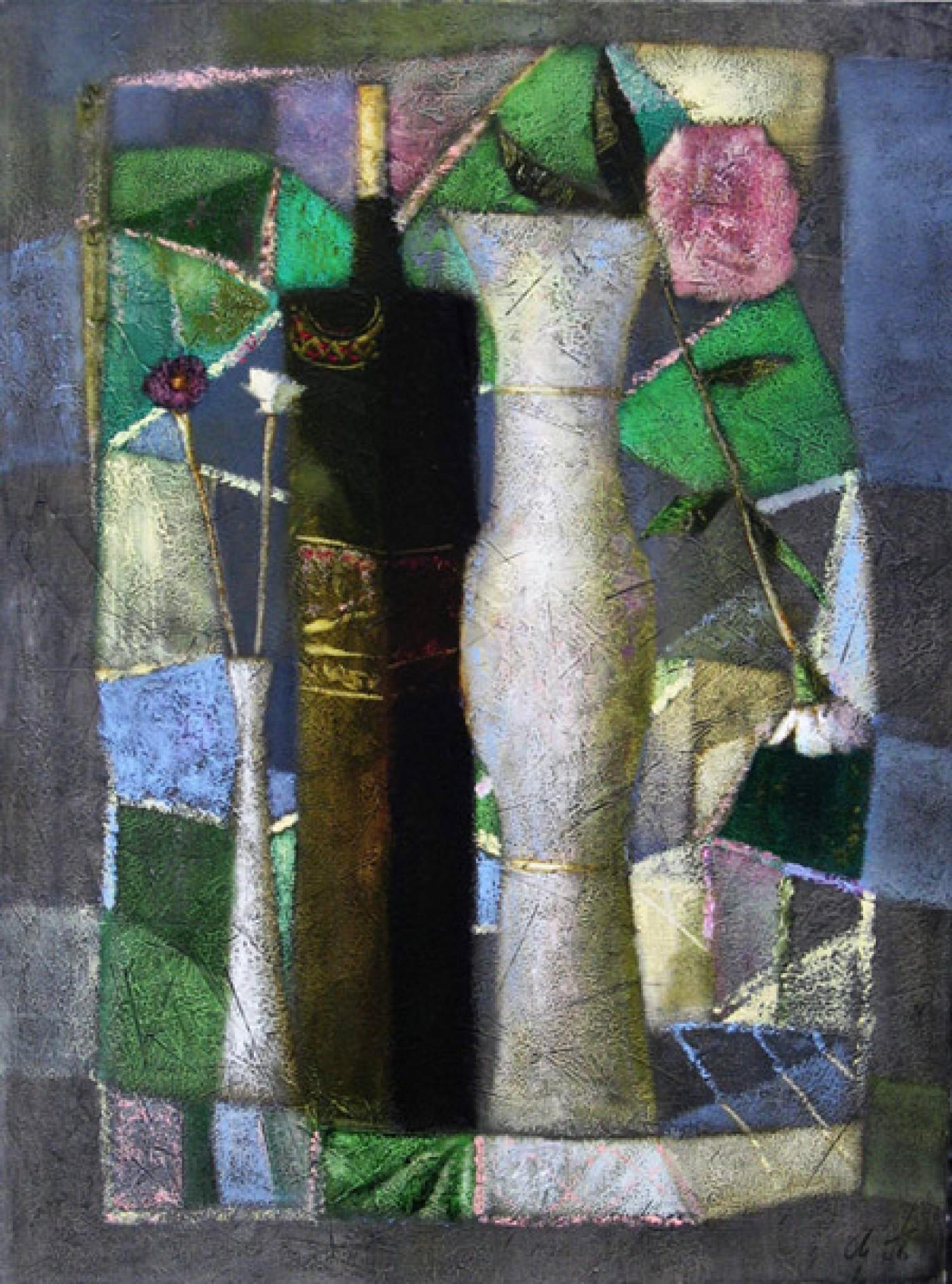 А.Л.Аранышев. Две вазы и бутылка. 2007 г. 80х60 см. Холст, масло