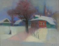 Л.Б.Ковалевская. Зимний вечер. Бум., пастель. 39х52. 2006 г.