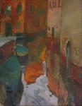 О.А.Александрова. Улица в Венеции. 2004 г. Картон, масло. 50х40 см.