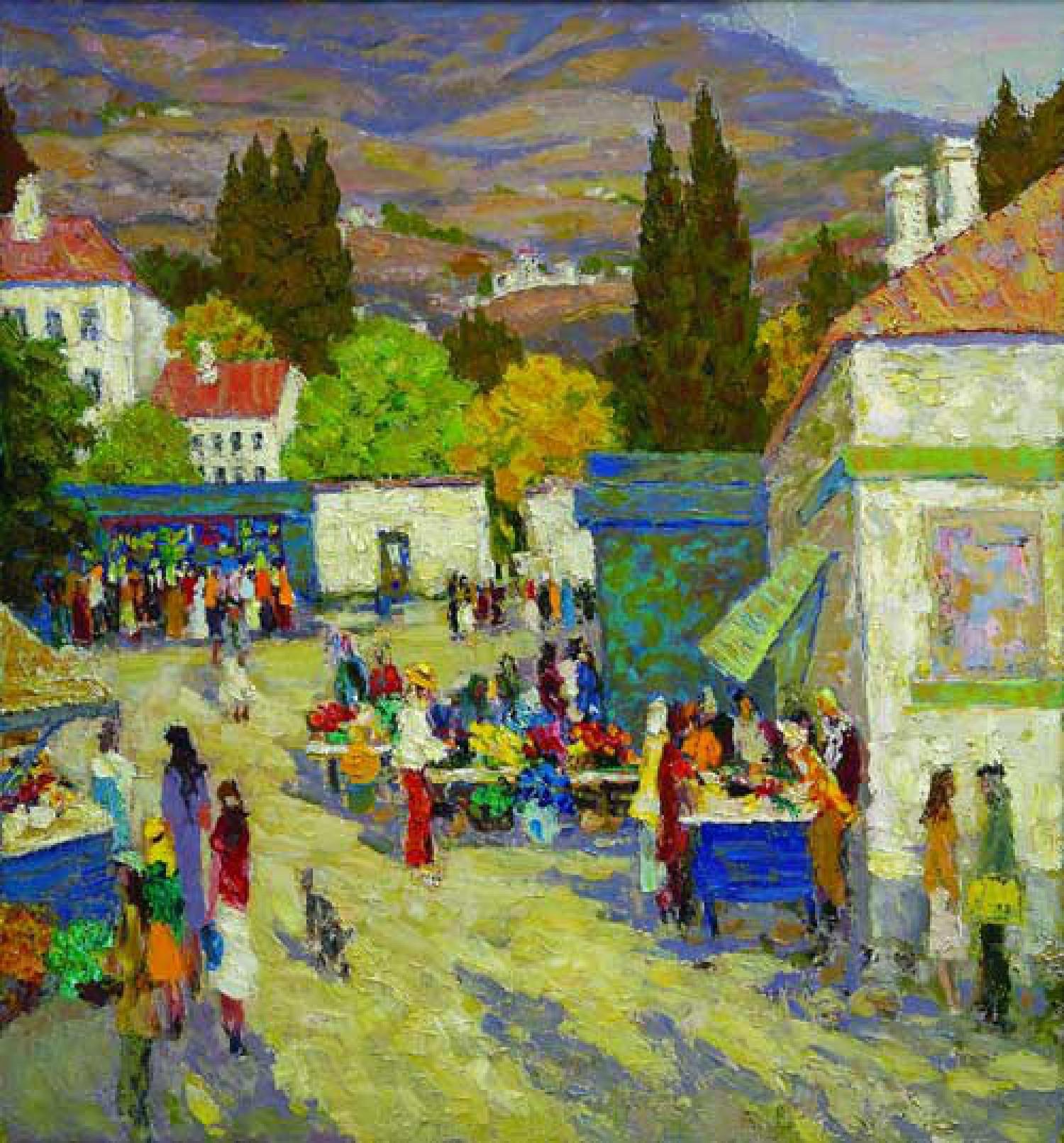 Ю.Д.Жарков. Базар в Гурзуфе. 1997-2008. 120х110. Х.м. Цена 150 000 руб.