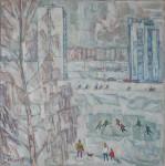 И.Д. Коробейников. День в городе. 2003. 70х70. Холст, масло.