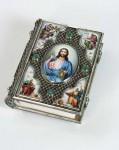 Л.Д.Самонова. Евангелие в окладе. 2004 г.. 17,3х14. Финифть, серебро, скань, зернь.