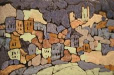 О.А.Александрова. Белый город. 2001 г. Медь, эмаль. 27х41 см.