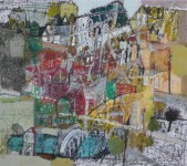 В.С.Горячев. Чёрное дерево на окраине города. 2004. Б., смеш. техника. 51х58.