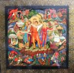 В.И.Карташов. Город древний, город молодой. 1985. 60х60 Папье-маше, темпера, золото, лак.