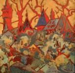 О.А.Александрова. На закате. 2002 г. Медь, эмаль. 30х31 см.