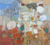 В.С.Горячев. Город за облаками. 2005. Б., смеш. техника. 50х55.