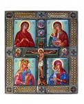 Е.В.Смирнова. Четырёхчастная икона Пресвятая Богородица и Распятие. 2004. 16,5х18,5 см. Медь, живопись по эмали, скань, серебрение, латунь.