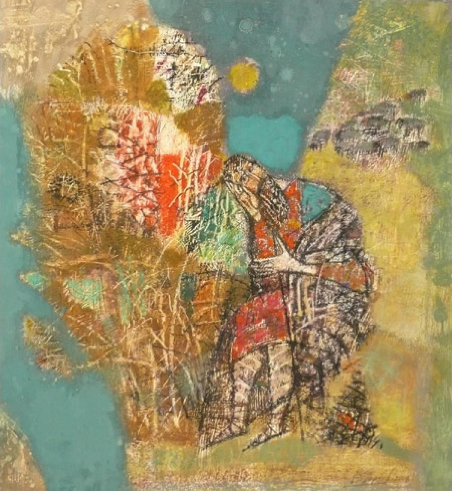 В.С.Горячев. Моисей и пылающий куст. 2004. Б., смеш. техника. 56х51.