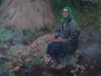 А.В.Пивень. Тётя Катя. 1990 г. Холст, масло. 50х70 см.