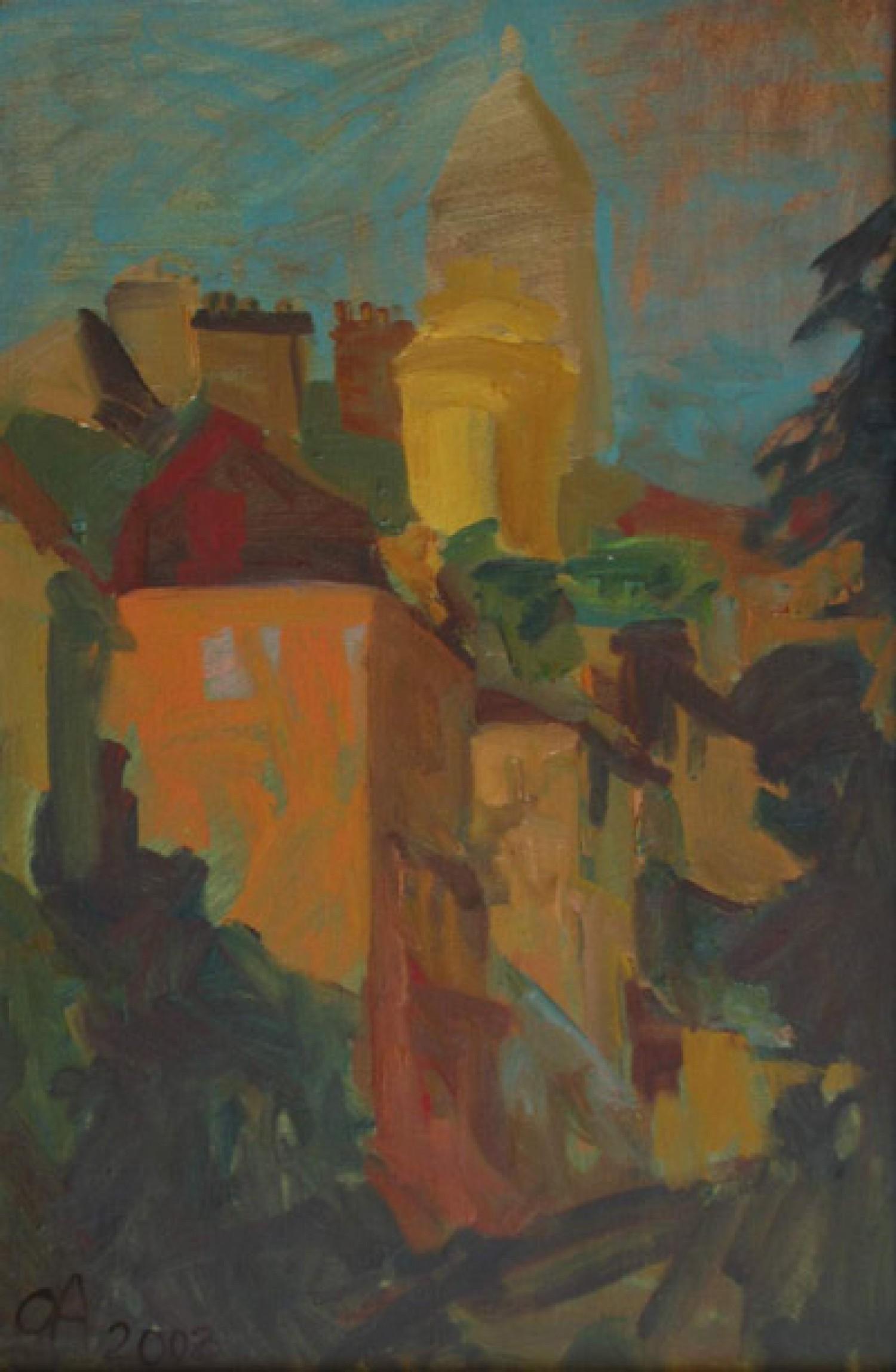 О.А.Александрова. Сакре-Кёр. 2004 г. Картон, масло. 51х35 см.
