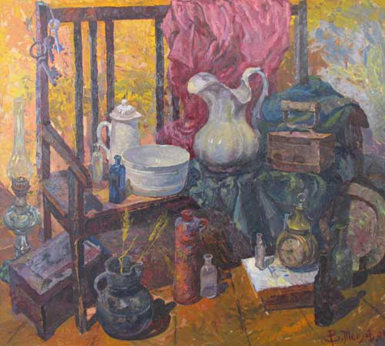 В.В.Теплов. Антикварная лавка. 2004. 100х110. ДВП, м.