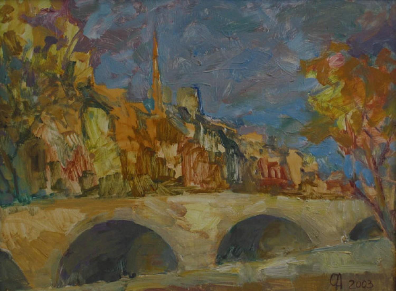 О.А.Александрова. Новый мост. 2004 г. Картон, масло. 36х48 см.