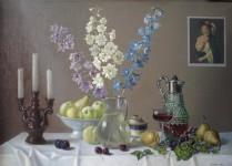 Ф.Ф.Вдовин. Праздничный натюрморт. 1995 г. Холст, масло. 100х70 см.