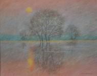 В.В.Багдасарьян. Туман на закате. 2003. 36.5х45.5. Б.,пастель.