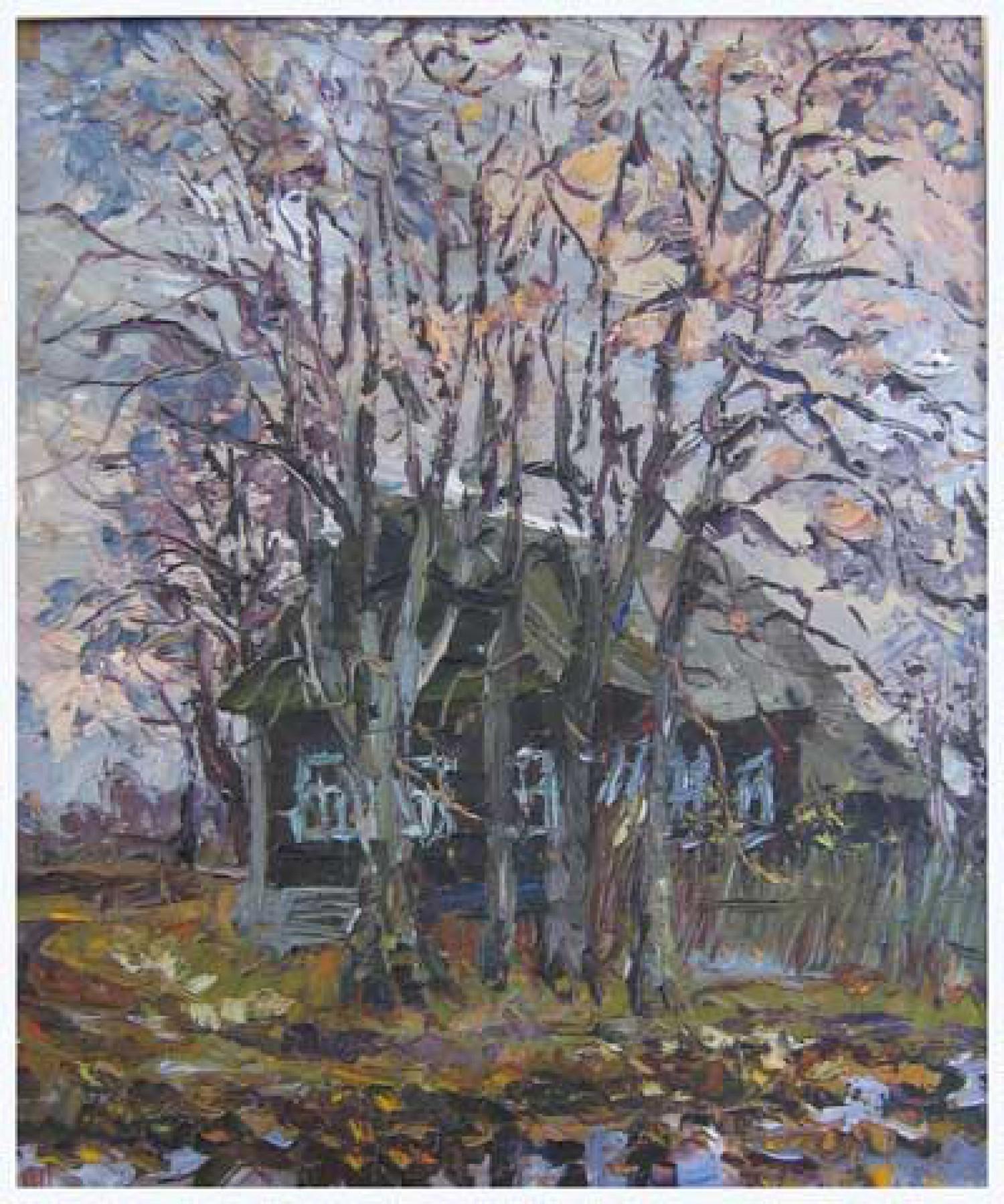 В.В.Теплов. Дом на отшибе. 2003. 60х50. ДВП, м.