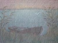 В.В.Багдасарьян. На озере. Лодка. 2006. 54х74. Б.пастель.