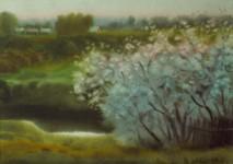 И.Г.Бухаров. Весенний пейзаж. 2006.  Бумага, акварель. 41x59.