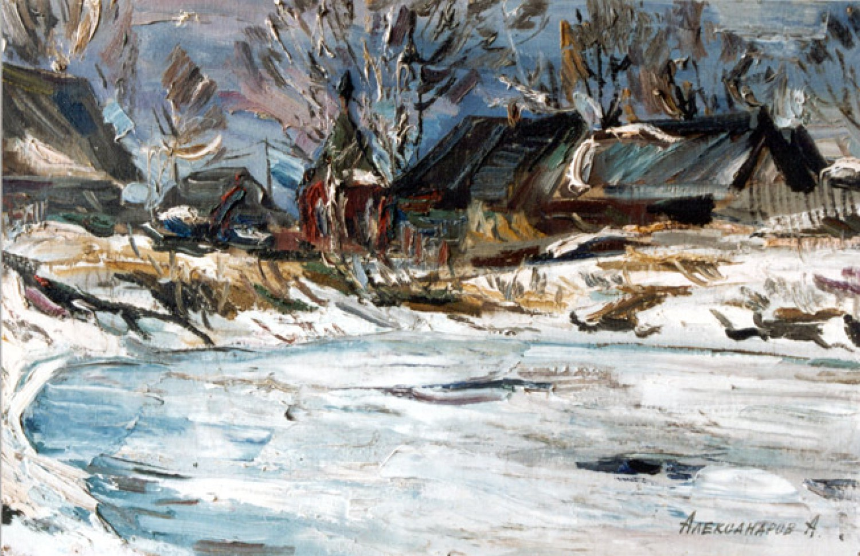 А.С.Александров. Зимний пруд. 1995 г. Картон, масло. 50х80 см.