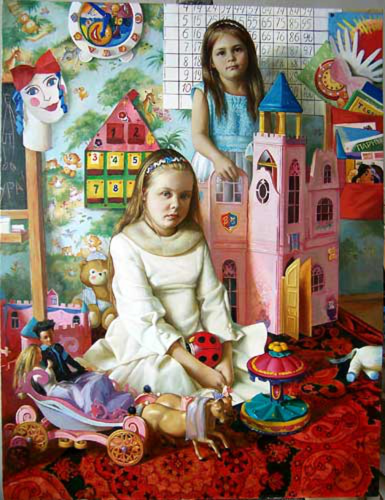 С.Н.Соколов. Две сестры. Х.м, акрил. 130х100. 2007 г.