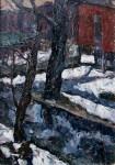 Е.Г.Дарьина. Апрельский снег. 1980 г. К.,м. 40х30 см.