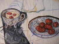 Е.Г.Дарьина. Клубника со сливками(фрагмент). 2005 г. Х.,м. 50х40 см.