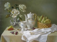 Ф.Ф.Вдовин. Натюрморт с белыми розами. 2003 г. Холст, масло. 70х50 см.