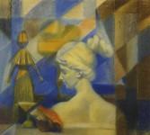 Л.Б.Ковалевская. Натюрморт с гипсовой головкой. Бум., пастель. 40х50. 2000 г.