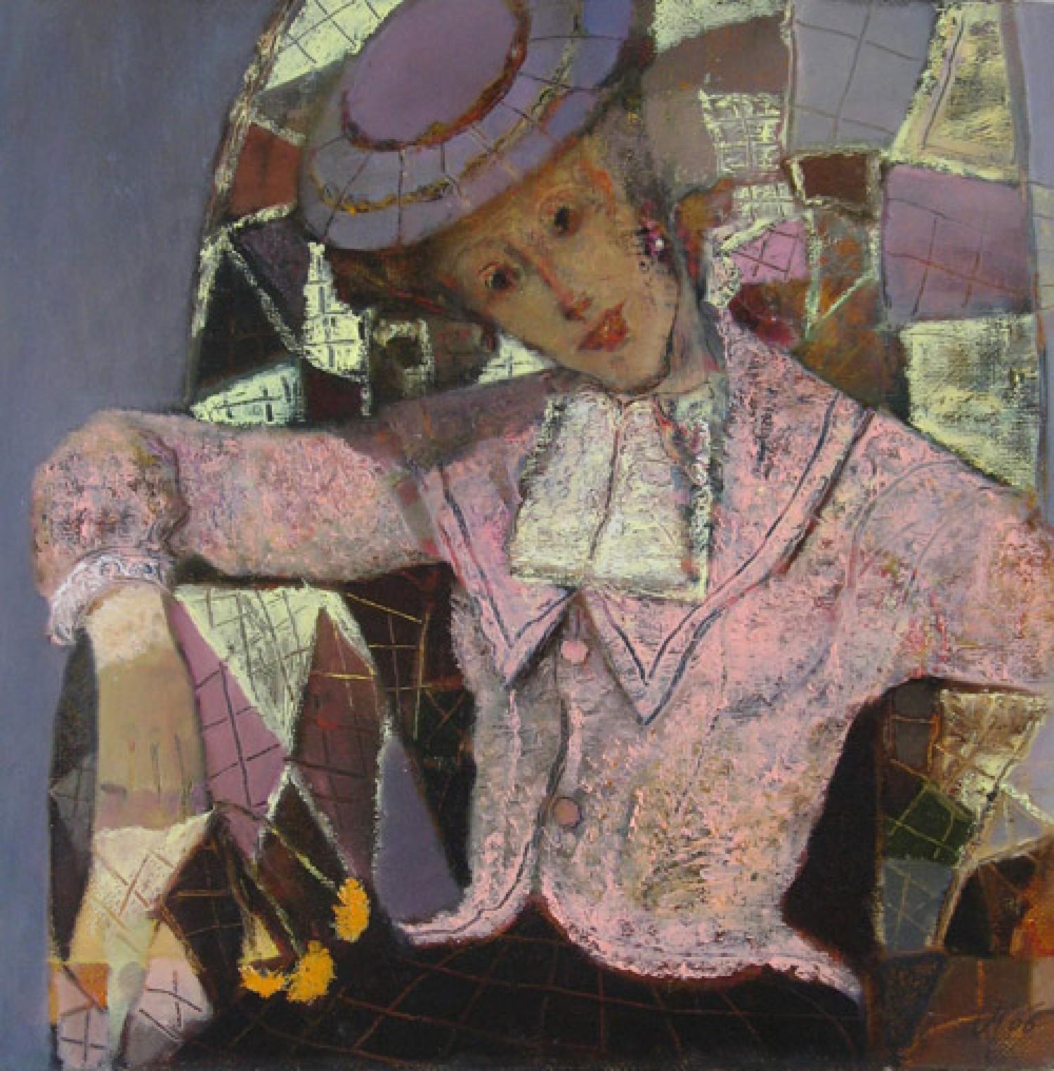 А.Л.Аранышев. Дама с жёлтыми цветами. 2006 г. 60х60 см. Холст, масло.